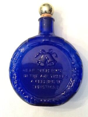 Wheaton Cobalt Blue Decanter - 1979 First Edition Blue Bells Christmas