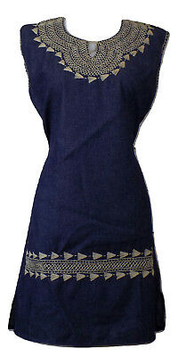 Women's Blue Denim Embroidered Mexican Dress Medium Large Bohemian Chic Fiesta