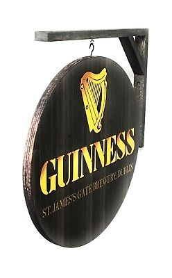 """GUINNESS SIGN Double-Sided Wall Hanging sign - 14"""" dia. wood bracket included"""