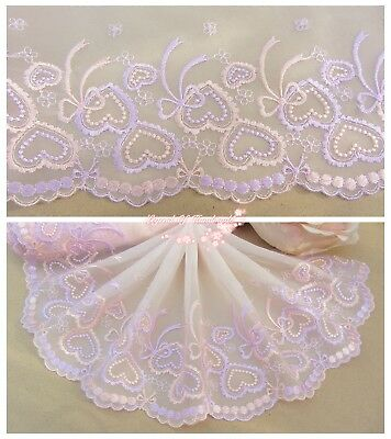 """6""""*1Y Embroidered Tulle Lace Trim~Light Peach Pink+Light Purple~Doll/Dress/DIY~"""