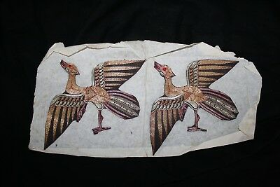 Vintage Antique Asian silk thread applique of two birds