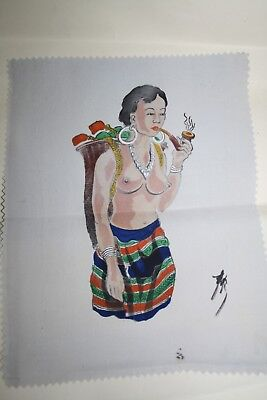 Vintage Antique Hand Painted picture of pretty Asian lady smoking a pipe
