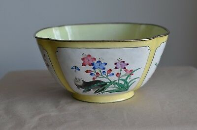 Vintage Chinese Enamel Bowl Decorated 4 Scenes Dragon Fly Bird Butterfly Cat