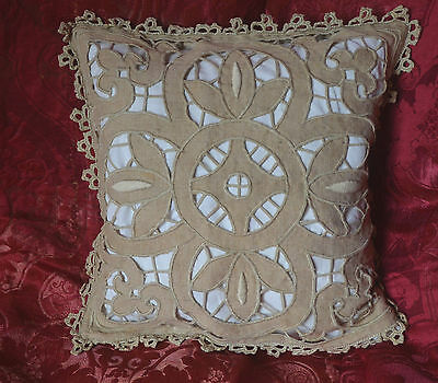 Antique French pure linen cushion cover, embroidered cut work