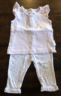 PUREBABY • 100% Organic Cotton • Girls Top And Pants • Size 00