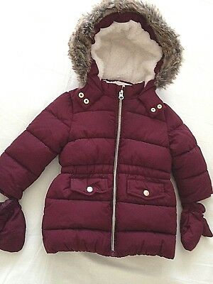 baby 12/18 mnth padded coat-fleece lined-mittens and hood-fur trim -new item