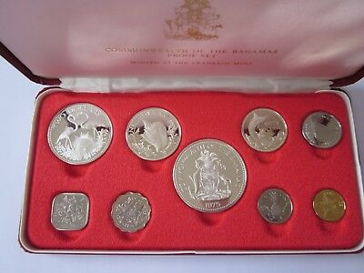 KMS Bahamas 1975 Proof Set mit viel Silber,    Commonwealth of the Bahamas 1975