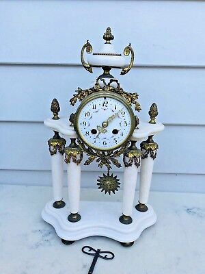 c.1870 French 4 Column White Marble Gild Bronze 8D Strikes the Bell ½ hr &Hourly