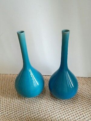 antique? pair of Chinese turquoise monochrome vases crackle glaze 19/20th cent ?