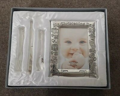 Silver Coloured Frame And Baby Cutlery Christening Gift