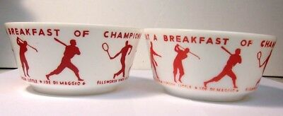 Vintage 1930's Wheaties Breakfast of Champions Milk Glass Bowl set of 2 REDUCED