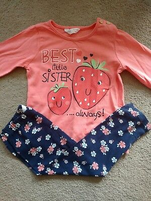 12-18 Months girls Leggings And Top, Best Little Sister Outfit. Bnwot