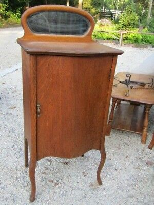 Antique Oak Music Cabinet w/ Beveled mirror