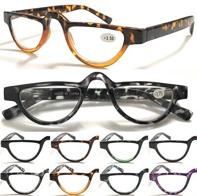 L324 Vintage Half-moon Reading Glasses/Spring Hinge/Colorful Tortoiseshell Specs
