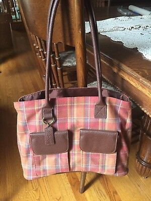 Longaberger Large Plaid Tote Bag EUC