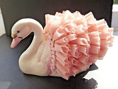 MZ Irish Dresden Porcelain swan with pink lace wings & border of flowers