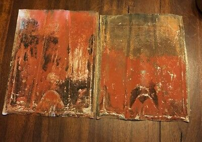 "2 Antique Tin Ceiling Tile Panel 9""x11"" Architectural Reclaimed Salvage"