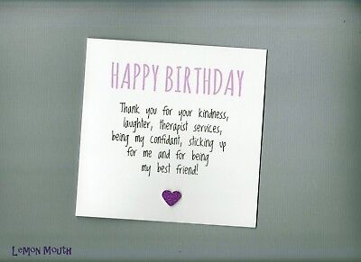 Funny Best Friend Birthday Card Bestie Cute Humour Sarcasm Rude Laughter