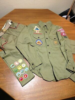 Vintage 1960's Boy Scout Of America Uniform Blouse, Trousers And Sash