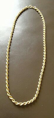 VINTAGE 375 HALLMARK Italian 9ct gold rope chain necklace