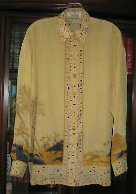 Escada Silk Blouse Tunic In Cream Ancient Egyptian Print Rare 38 Fits 14 Germany