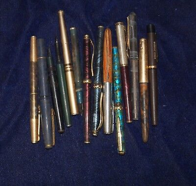 Vintage Mixed Lot Of 14 Fountain Pens , or calligraphy Pen