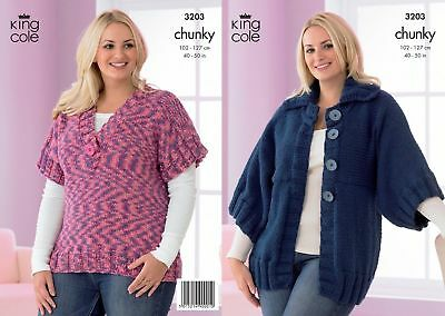 "King Cole Knitting Pattern 3203 Ladies Jacket /& Top Chunky 40-50/"" Larger Sizes"