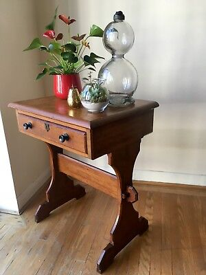 Victorian Church Gothic oak Arts Crafts drawer console hall table with oak