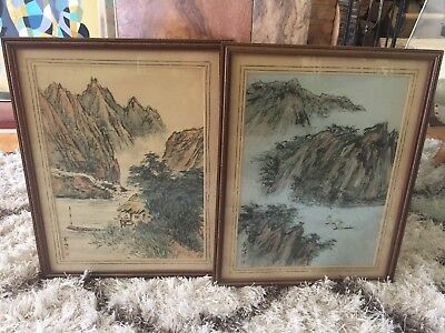 2 Antique Signed Chinese Ink Painting Pith Rice Paper Framed Mountains Boats