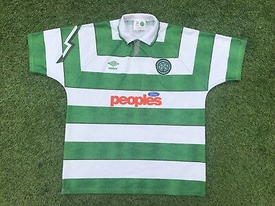 Mint Celtic FC 1991 1992 Home Umbro The Hoops Football Shirt - Large