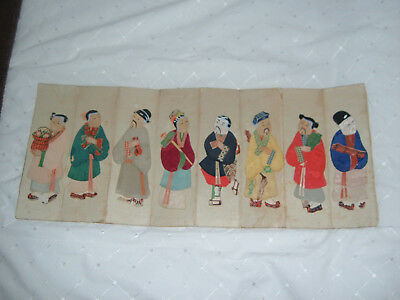 Old Japanese Figures on Parchment