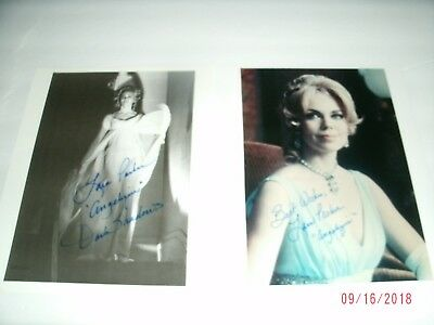 """2 LOVELY signed photographs in person LARA PARKER Dark Shadows """"Angelique"""" 8/10s"""