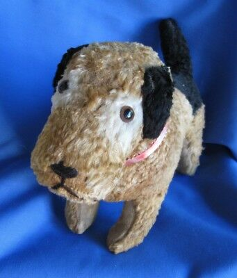 """VintageMohair Airedale Stuffed Toy Dog Black & Tan 9"""" Tall"""