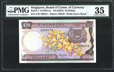 Singapore Orchid Series $25 Paper Banknote HSS Signature PMG 35 VF