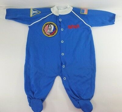 NASA Baby Pajamas Medium STS60 Shuttle Discovery Patches Teddy Bear Costume Blue