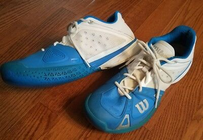 Men's Wilson Ortholite Athletic Running Tennis Shoes White & Blue Size 10