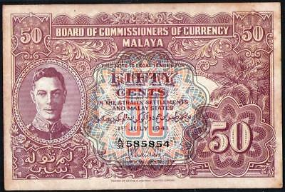 1941 Board of Commissioners of Currency Malaya King George VI 50 cents D Version