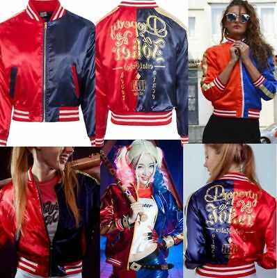 Ladies Kids Harley Quinn suicide squad Halloween cosplay party bomber jacket