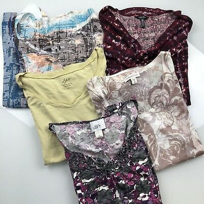 Mixed lot women's tees size M lot of 5 J.Jill Talbots Coldwater Creek LOFT