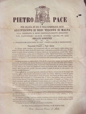 Malta 1892 Document by Arch Pietro Pace dangerous influenza / waiving of fasting