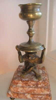 Antique Bronze Creature Candlestick on a Marble Base