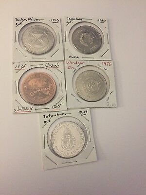 Canadian Trade Dollars Mixed Lot Of 5 #71