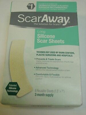 "Scaraway Long Silicone Scar Sheets 1.5"" x 7""  6 Sheets Exp 2020 NEW"