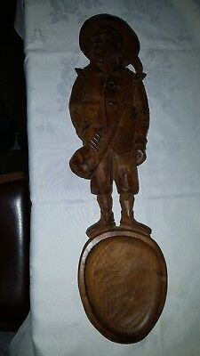 Large vintage Black forest hand carved figure of an Alpine climber spoon wall