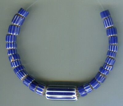 African Trade beads Vintage Venetian glass old 6 layer blue chevron beads