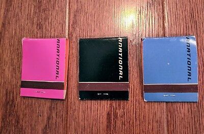 Braniff International matches matchbook set of 3 Black Blue Pink Vintage Airline