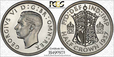 Great Britain, 1937 George VI Half Crown, 1/2 Crown. PCGS 65+ and Cameo!