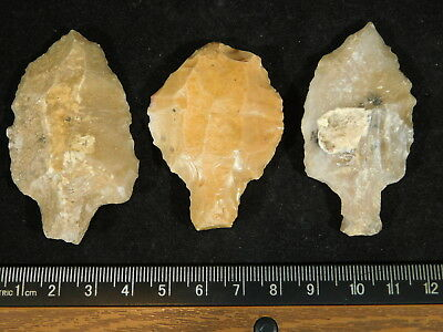 Lot of THREE! 55,000 to 12,000 Year Old AAA Aterian Artifacts Algeria 69.5gr