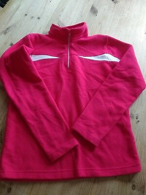 Micro Fleece ski mid-layer Age 10-12 pink and white