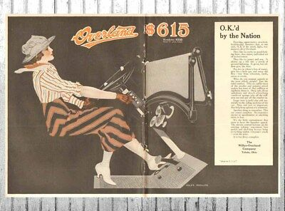 Antique 1916 Overland Willys Automobile COLES PHILLIPS Woman Car Driver Art Ad